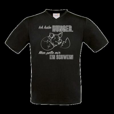 Motiv: T-Shirt V-Neck FAIR WEAR - Sizzle Brothers - Grillen - Schwein pellen