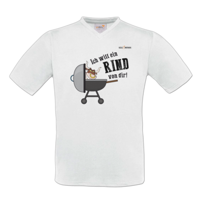 Motiv: T-Shirt V-Neck FAIR WEAR - SizzleBrothers - Grillen - Ich will ein Rind
