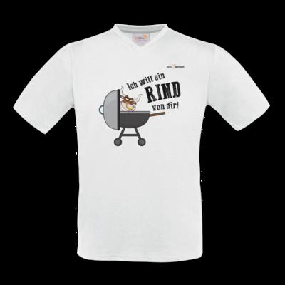 Motiv: T-Shirt V-Neck FAIR WEAR - SizzleBrothers - Grillen - Ich will ein Rind