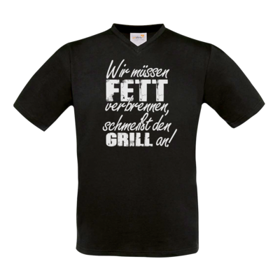 Motiv: T-Shirt V-Neck FAIR WEAR - SizzleBrothers - Grillen - Fett verbrennen