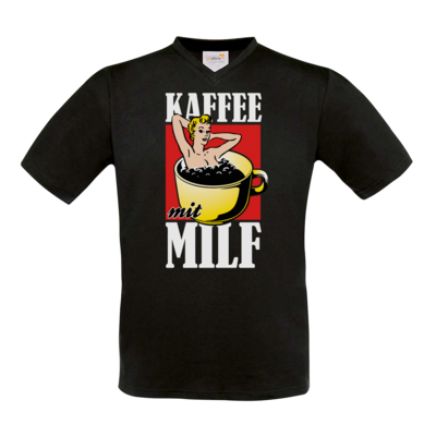 Motiv: T-Shirt V-Neck FAIR WEAR - Kaffee mit MILF