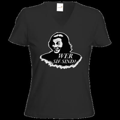 Motiv: T-Shirts Damen V-Neck FAIR WEAR - Spiele mit Bart - Wer Sie sind