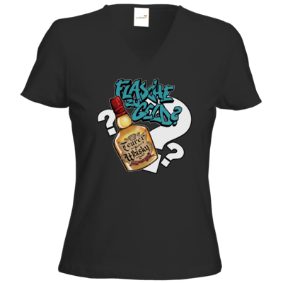 Motiv: T-Shirts Damen V-Neck FAIR WEAR - Rob Boss - Flasche zu Geld