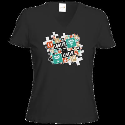 Motiv: T-Shirts Damen V-Neck FAIR WEAR - Looten & Leveln - Kacheln Türkis