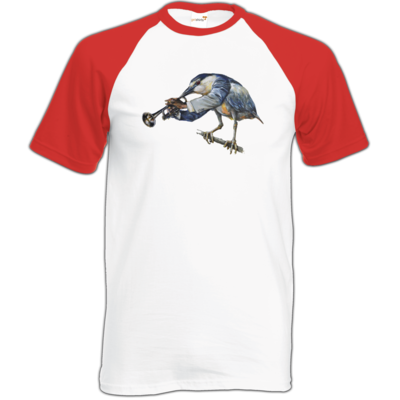 Motiv: Baseball-T FAIR WEAR - Vogelmenschen - Satchmo-Reiher
