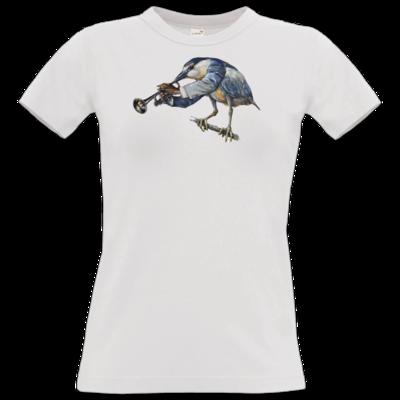 Motiv: T-Shirt Damen Premium FAIR WEAR - Vogelmenschen - Satchmo-Reiher