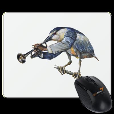Motiv: Mousepad Textil - Vogelmenschen - Satchmo-Reiher