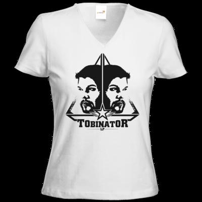 Motiv: T-Shirts Damen V-Neck FAIR WEAR - StarBadge dark