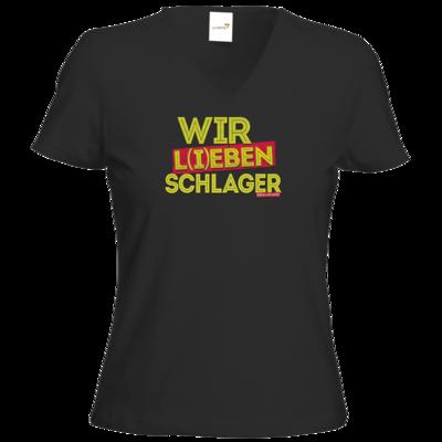 Motiv: T-Shirt Damen V-Neck Classic - Wir l(i)eben Schlager
