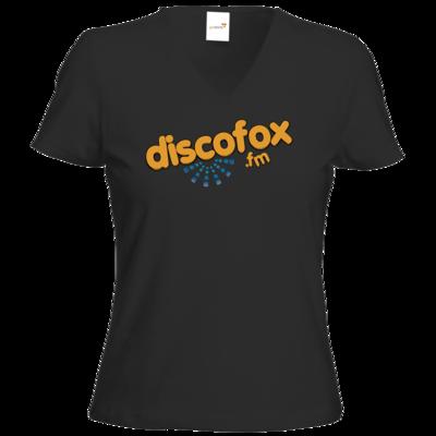 Motiv: T-Shirt Damen V-Neck Classic - Discofox FM - Logo XL