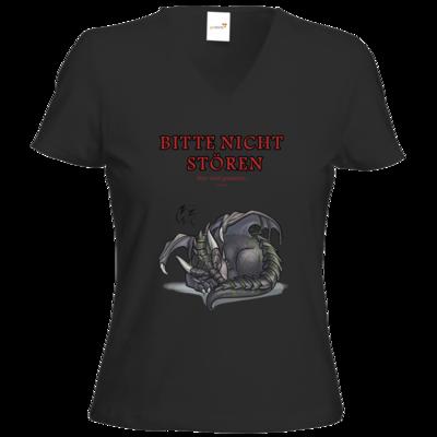 Motiv: T-Shirts Damen V-Neck FAIR WEAR - Ulisses - Bitte nicht stören