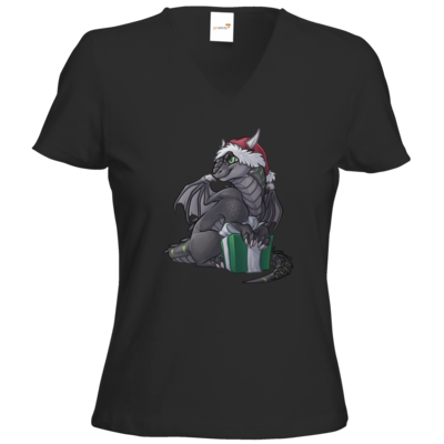 Motiv: T-Shirts Damen V-Neck FAIR WEAR - Ulisses - Chibi - Weihnachtsmotiv 3