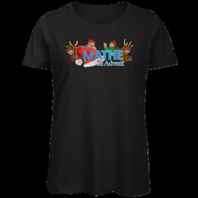 Motiv: Organic Lady T-Shirt - Logo mit Wichteln und Rentieren