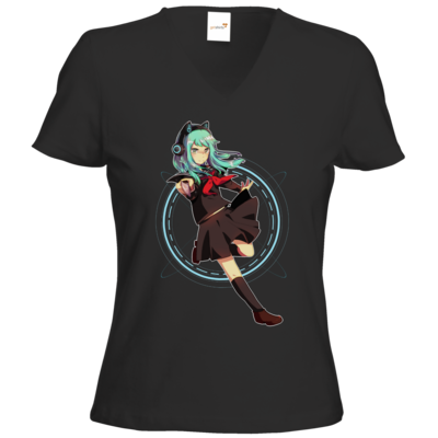 Motiv: T-Shirts Damen V-Neck FAIR WEAR - Modus Yandere
