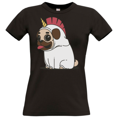 Motiv: T-Shirt Damen Premium FAIR WEAR - Einhorn Mops