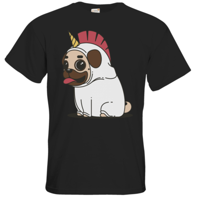 Motiv: T-Shirt Premium FAIR WEAR - Einhorn Mops