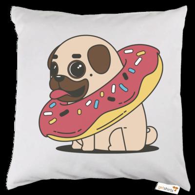 Motiv: Kissen - Mops mit Donut