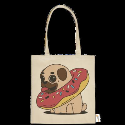 Motiv: Baumwolltasche - Mops mit Donut