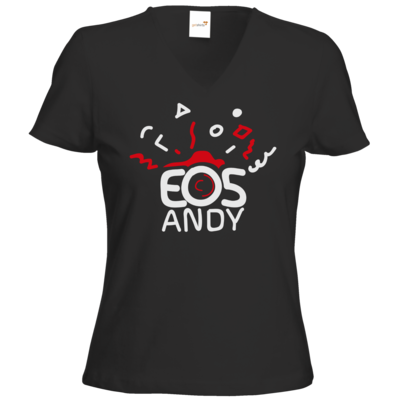 Motiv: T-Shirts Damen V-Neck FAIR WEAR - eosAndy Doodle Shirt Logo