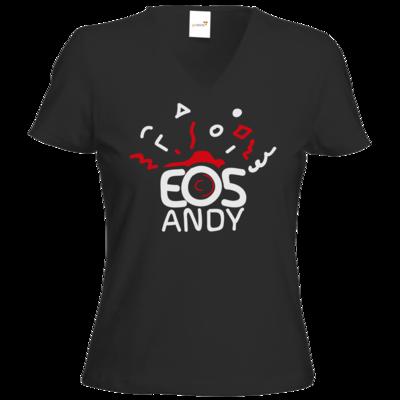 Motiv: T-Shirts Damen V-Neck FAIR WEAR - eosAndy Doodle Shirt Logo
