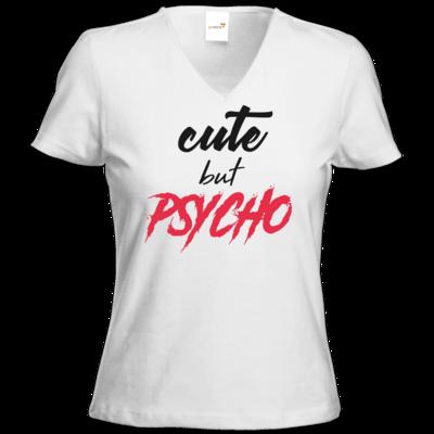 Motiv: T-Shirt Damen V-Neck Classic - Cute but Psycho