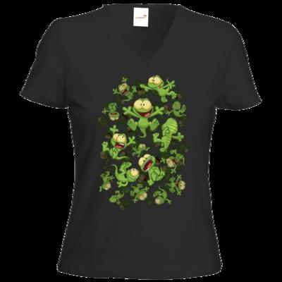 Motiv: T-Shirts Damen V-Neck FAIR WEAR - Lurchregen