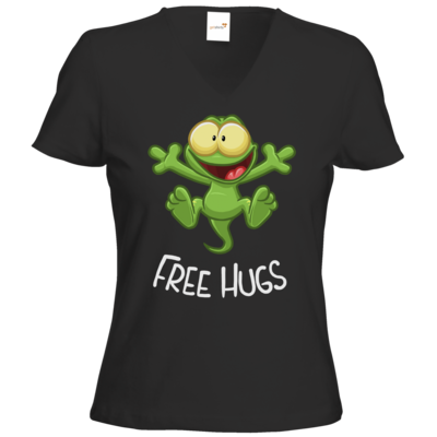 Motiv: T-Shirts Damen V-Neck FAIR WEAR - FreeHugs