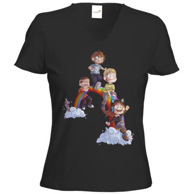 Motiv: T-Shirts Damen V-Neck FAIR WEAR - Dead by Daylight - Regenbogen