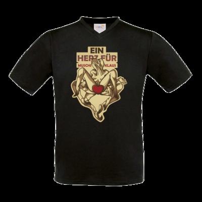 Motiv: T-Shirt V-Neck FAIR WEAR - Ein Herz fuer Muschiklaus