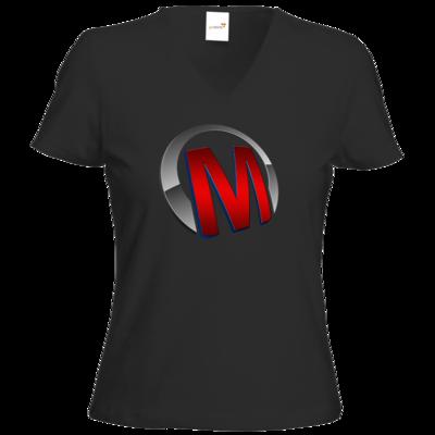 Motiv: T-Shirt Damen V-Neck Classic - Macho - Logo - Rot