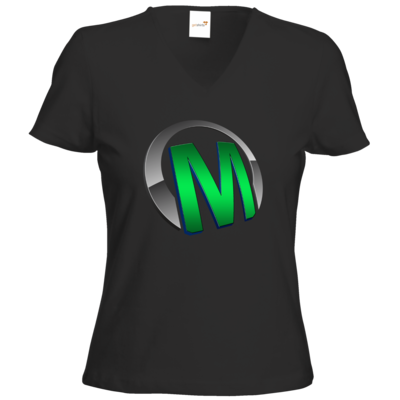 Motiv: T-Shirts Damen V-Neck FAIR WEAR - Macho - Logo - Grün