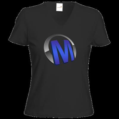 Motiv: T-Shirt Damen V-Neck Classic - Macho - Logo - Blau