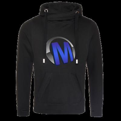 Motiv: Cross Neck Hoodie - Macho - Logo - Blau