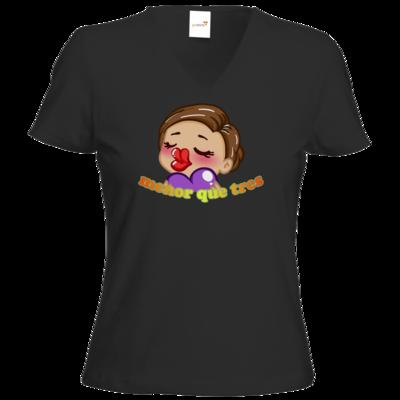 Motiv: T-Shirt Damen V-Neck Classic - AlocaNegra - menor que tres