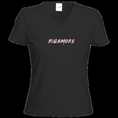 Motiv: T-Shirt Damen V-Neck Classic - Schriftzug Big Smoke