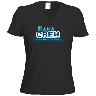 Motiv: T-Shirt Damen V-Neck Classic - BakaCrew Logo mit Claim
