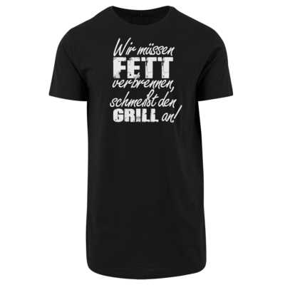 Motiv: Shaped Long Tee - SizzleBrothers - Grillen - Fett verbrennen