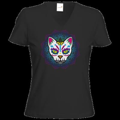 Motiv: T-Shirt Damen V-Neck Classic - AlocaNegra - Cat