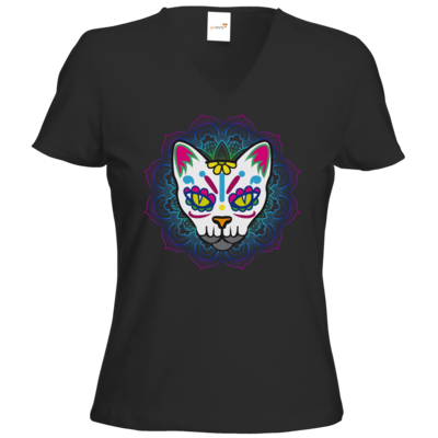 Motiv: T-Shirts Damen V-Neck FAIR WEAR - AlocaNegra - Cat