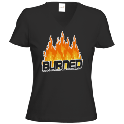Motiv: T-Shirt Damen V-Neck Classic - Burned Flames