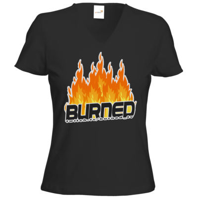 Motiv: T-Shirts Damen V-Neck FAIR WEAR - Burned Flames