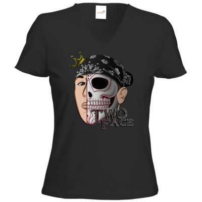 Motiv: T-Shirt Damen V-Neck Classic - Logo weißer