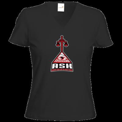Motiv: T-Shirts Damen V-Neck FAIR WEAR - ASK Wappen