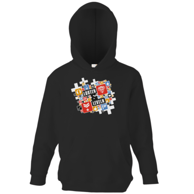 Motiv: Kids Hooded Sweat - Looten & Leveln - Kacheln Rot