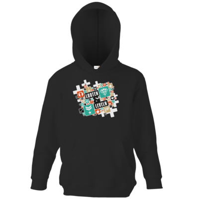 Motiv: Kids Hooded Sweat - Looten & Leveln - Kacheln Türkis