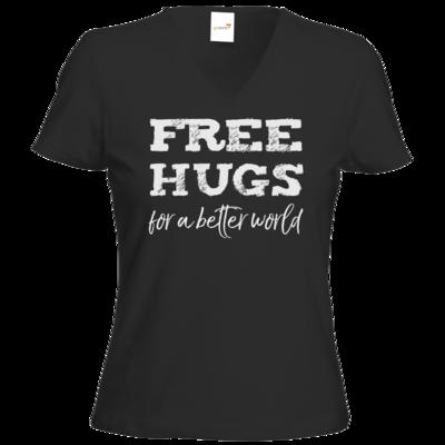 Motiv: T-Shirts Damen V-Neck FAIR WEAR - Free Hugs #01