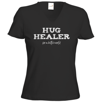 Motiv: T-Shirts Damen V-Neck FAIR WEAR - Hug Healer #01