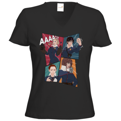 Motiv: T-Shirts Damen V-Neck FAIR WEAR - Thabor Comic