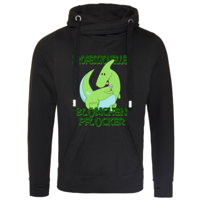 Motiv: Cross Neck Hoodie - Bluemchenpfluecker