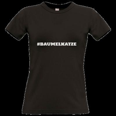 Motiv: T-Shirt Damen Premium FAIR WEAR - Hash Baumelkatze